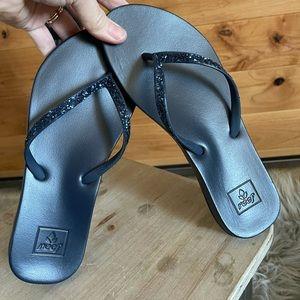 Reef navy sparkle flip flops
